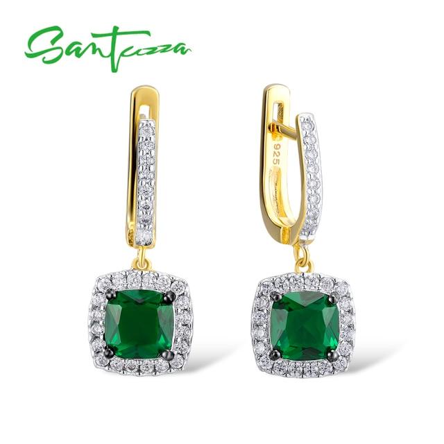 1cfcd3ce6 SANTUZZA Silver Earrings For Women 925 Sterling Silver Dangle Earrings Long  Silver 925 Cubic Zirconia brincos