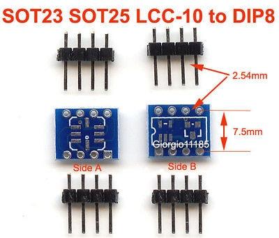 5pcs SOT23 SOT25 LCC-10 To DIP8 Adapter PCB Convertor ld7530pl ld7530 sot23 6