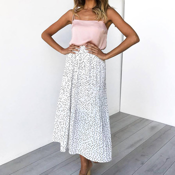White Dots Floral Print Pleated Midi Skirt Women   5