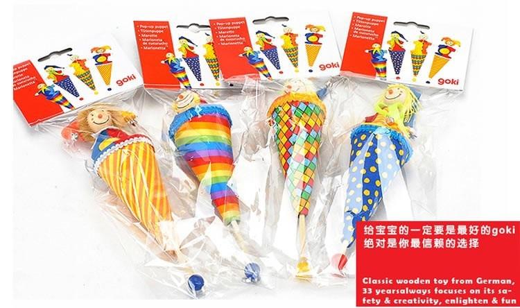 2db Márka bébi bohóc kézbábok / 23cm hosszú fa teleszkópos bot gyerekeknek plüss baba játékok, 1db / csomag