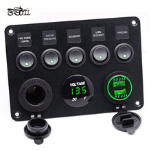 5 Gang Rocker Switch Panel Green LED Dual USB Socket Charger Voltmeter On - Off Boat Marine Truck