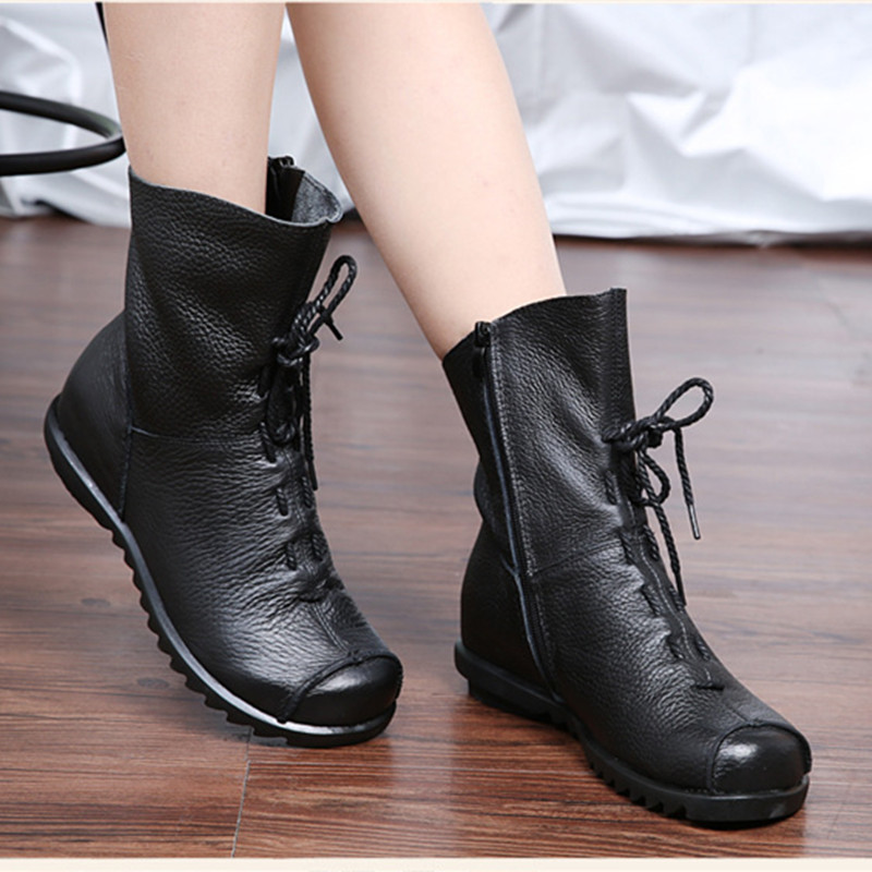 new Autumn Genuine Leather Ankle Boots Ladies Casual Warm Comfortable Flat Winter Boot For Women Footwear Female Women Shoes women real natrual genuine leather flat ankle boots half short botas autumn winter boot warm footwear shoes k4418 size 34 43