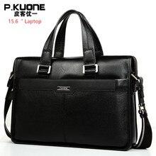 """العلامة التجارية تصميم 15.6 """"حقيبة لابتوب جلد طبيعي الرجال حقيبة أعمال الموضة جلد طبيعي حقائب كتف متنقلة"""