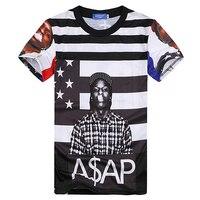 Hip Hop Stil 2018 Neue Mode Für Männer Sommer Tops Tees Grafik drucken Asap Rocky Neuheit T-shirt Hip Hop Streetwear Für Männer