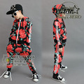 2016 Autumn Winter Children's Clothing Set Girls Red Flowers Print Costumes Kids Sport Tracksuits Hip Hop Dance Pant & Coat Set