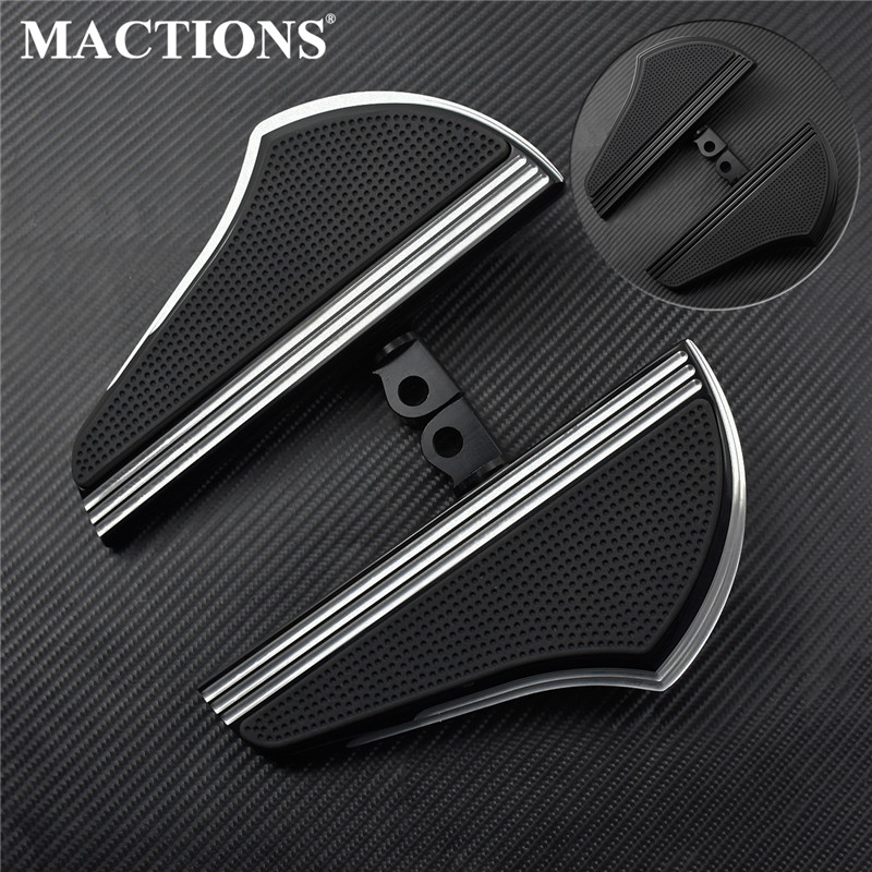 Motorcycle Passenger Defiance Floorboards Footboard Black CNC Male Mount Foot Pegs For Harley Touring Dyna Sportster