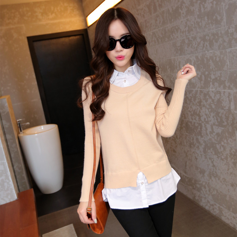 1334 tiro Suéter cuello de la camisa femenina 2015 nueva primavera de la moda fa