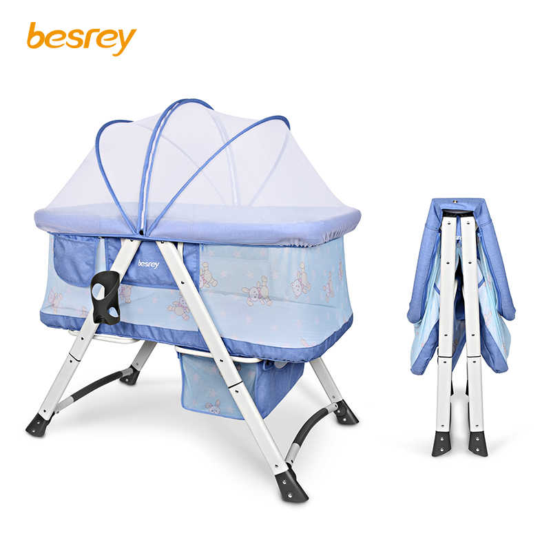 Besrey Portable Baby Bed Infant Travel Folding Baby Crib Breathable 0-3 Years Kids Nest For Newborns With Trolley