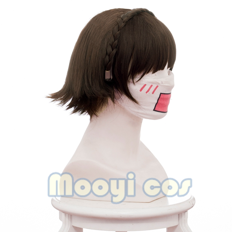 Persona 5 Makoto Niijima Cosplay Wig 30cm Short Heat Resistant Synthetic Hair Braided Wig for Women Anime Costume Party Brown