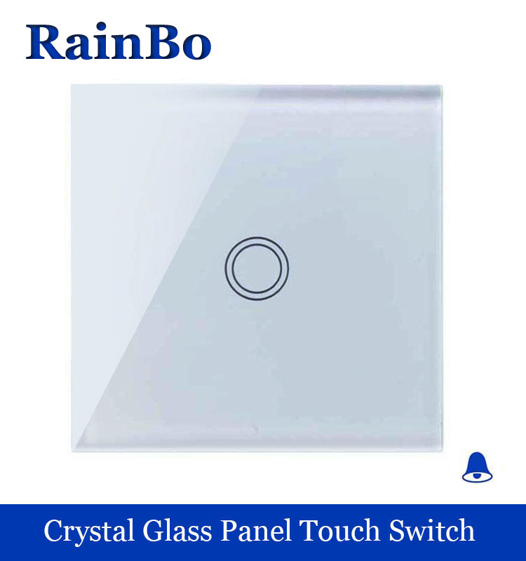 rainbo Crystal Glass Panel Switch EU Wall Switch Door Bell Touch Switch Screen 110~250V 1gang1way Door Bell Switch A1911MLXW/B touch smart home switch screen white crystal glass panel switch eu wall switch ac250v wall light switch 1 gang 1 way rainbo