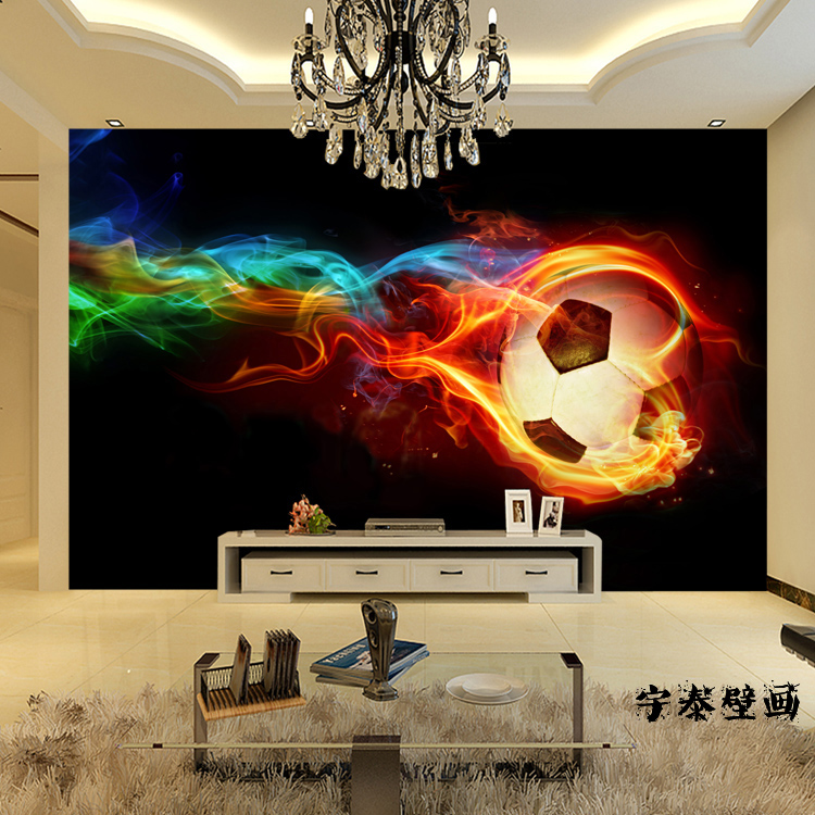 Soccer wall murals large shock 3d stereo custom cool for Cool mural wallpaper