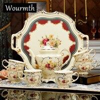 Wourmth Único 15 pcs ceram porcelana jogo de café de alta qualidade da flor do ouro conjunto completo conjunto de chá definir casar presente