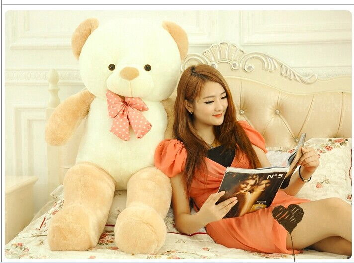 huge lovely new plush Teddy bear toy stuffed light brown teddy bear with bow birthday gift about 160cm new creative plush bear toy cute lying bow teddy bear doll gift about 50cm