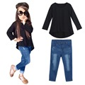 Baby Girl Clothes Fashion Tee Long Sleeve Long Jeans Top Crewneck Oversuit Set Children Clothing Bosudhsou