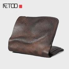 AETOO Mini purse men's handmade genuine leather ultra-thin soft leather wallet vintage cowhide leather wallet retro soft wallet