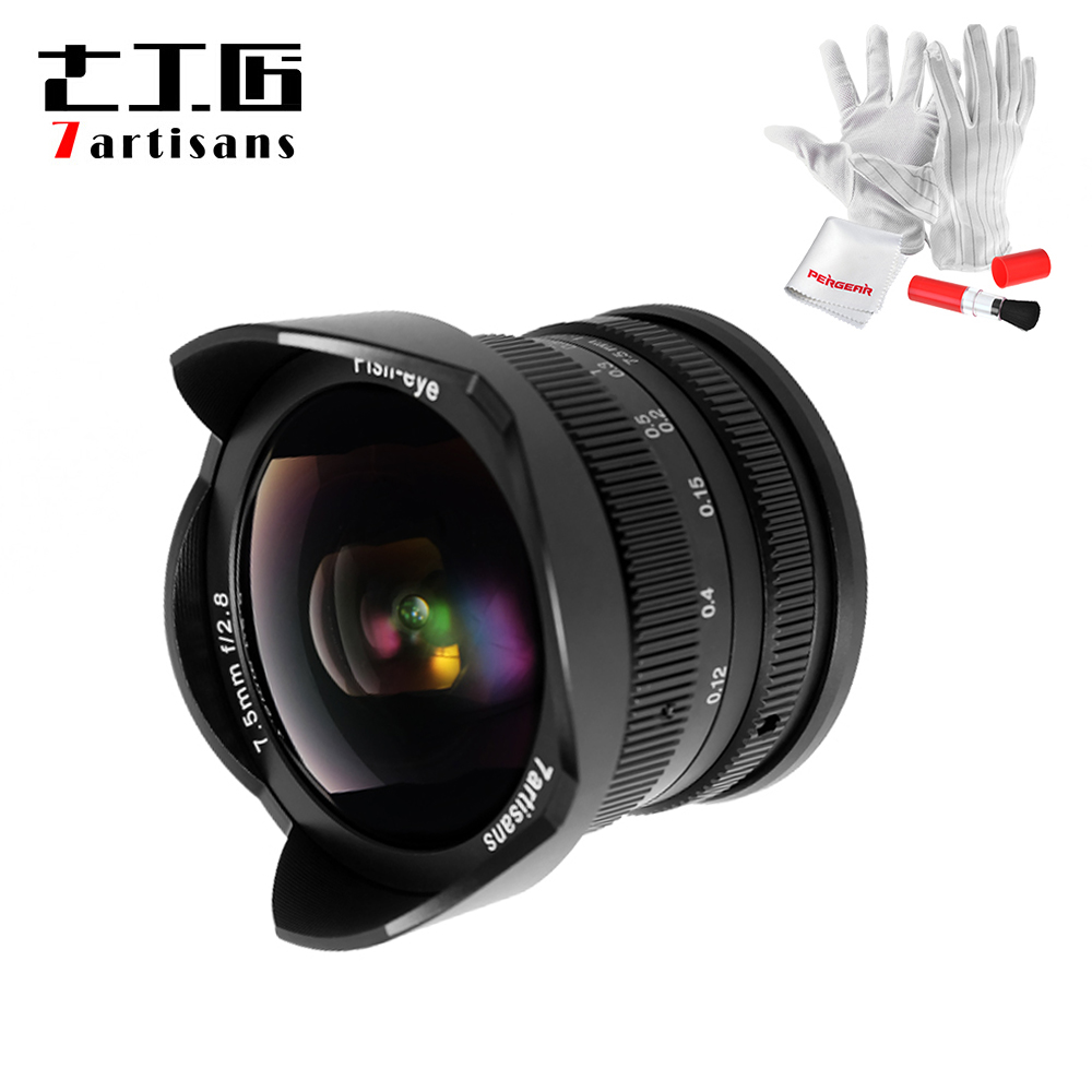 7artisans 7.5mm F2.8 F/2.8 Fisheye Lens 180 Degree Angle Apply to All Single Series for E Mount /for Micro 4/3 Mirrorless Camera