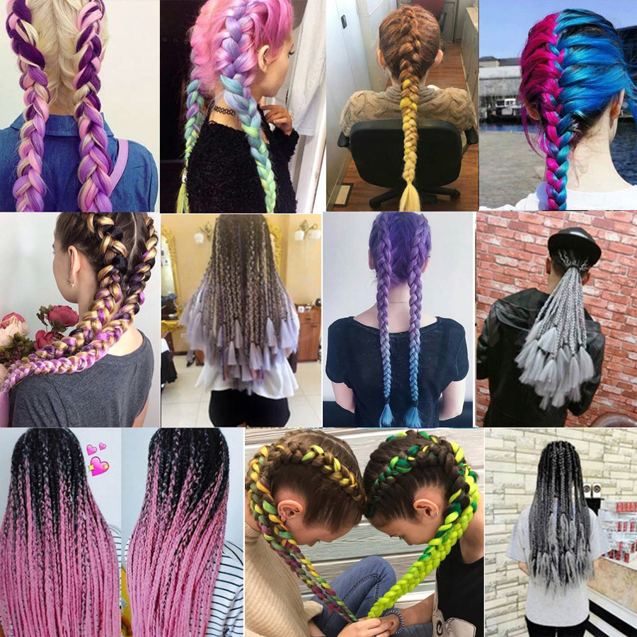 "TOMO 24"" 100g/pack Ombre Kanekalon Jumbo Braids Hair Extensions Synthetic Crochet Braiding Box Braids Hair 1 Pack/Lot"