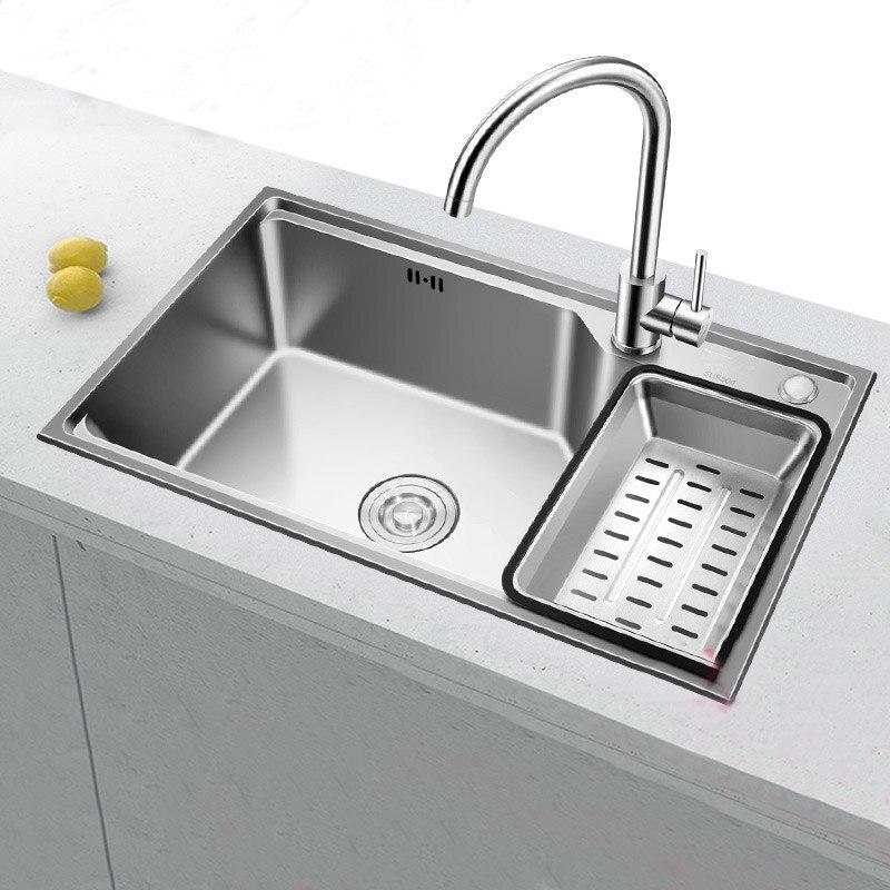 Évier de cuisine 304 en acier inoxydable évier lave-vaisselle lavabo unique auge ensemble repas épaississement ménage unique bol