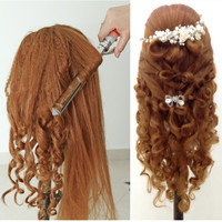 About 60cm hair length 95% natural women mannequin head with wig doll head with hair practice head hair