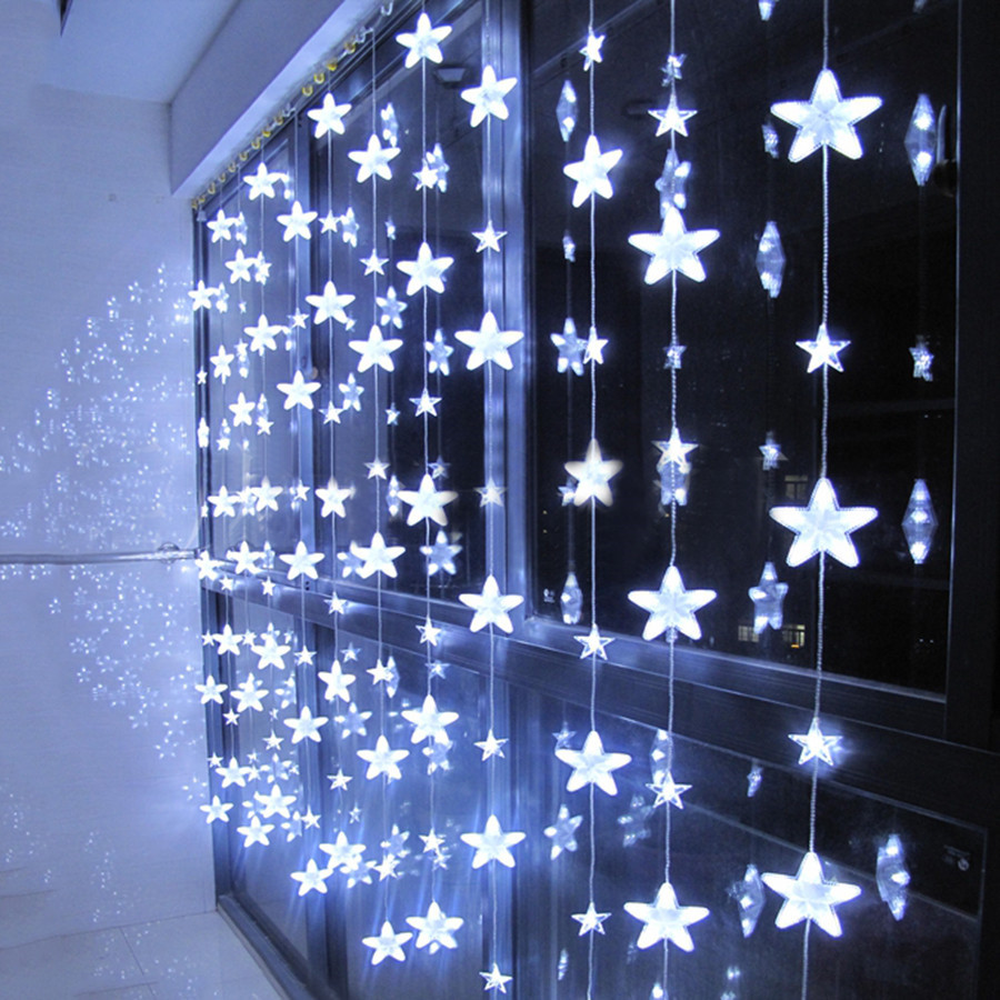 Thrisdar 3.5M 252 LED Romantic Fairy Star Led Curtain String Light 8 Mode Christmas Wedding Holiday Window Icicle Garland Light