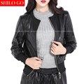 2017 весной мода женщин высокого качества локомотив овчины шею шить винт шаблон черный короткие кожаные куртки 3XL