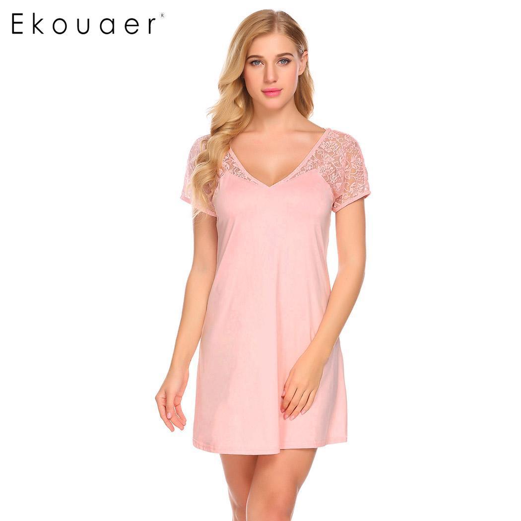 Ekouaer Night Dress Sleepwear Women Deep V Neck Short Sleeve Mesh Patchwork Backless Cross Sleep Dress   Nightgown     Sleepshirts