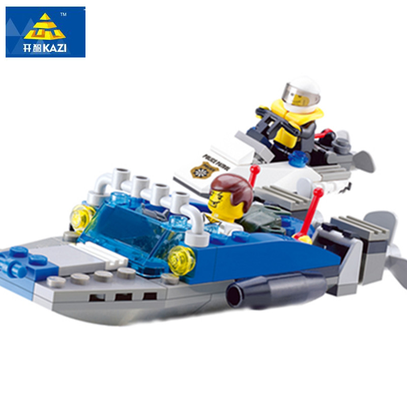 6733 KAZI City Police Speed Ship Boat Model Building Blocks Classic Enlighten DIY Figure Toys For Children Compatible Legoe 10639 bela city explorers volcano crawler model building blocks classic enlighten diy figure toys for children compatible legoe
