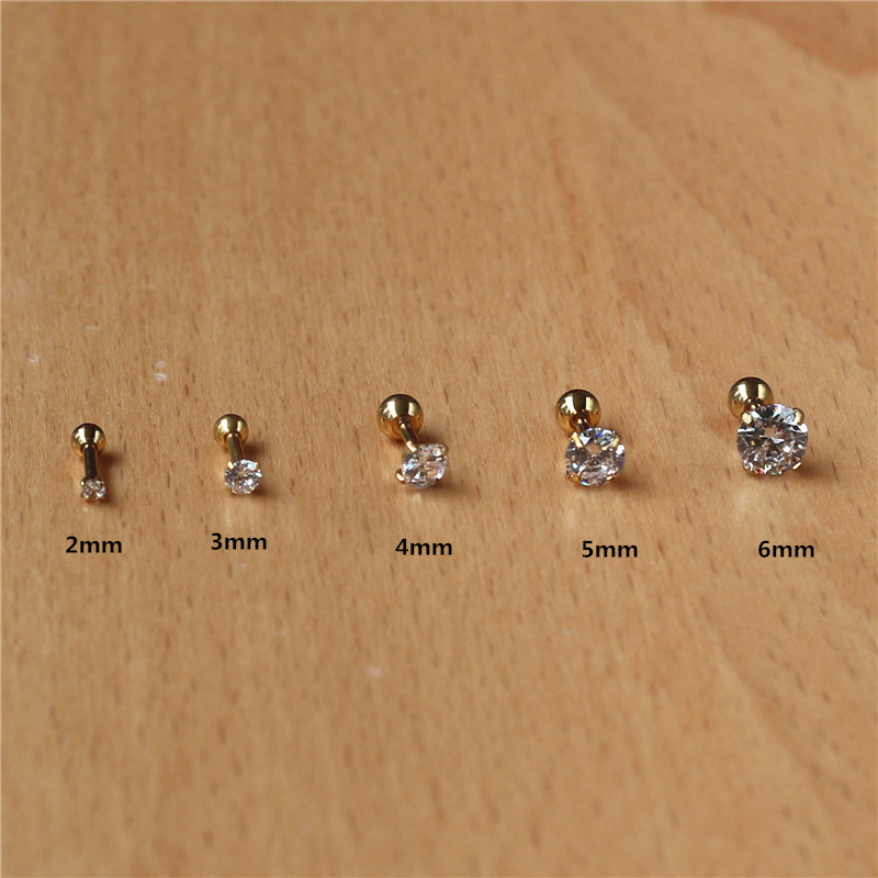 316l Stainless Steel Screw-back Zircon Stud Earrings 2mm to 8mm Classical Style Golden IP Plating No easy Fade Allergy Free