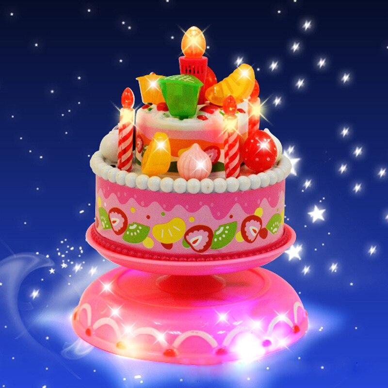 Birthday Cakes Toy Musical Rotating Lighting Plastic Play Jogo De Cozinha Infantil Cocinajuguete Princess Cake Gift