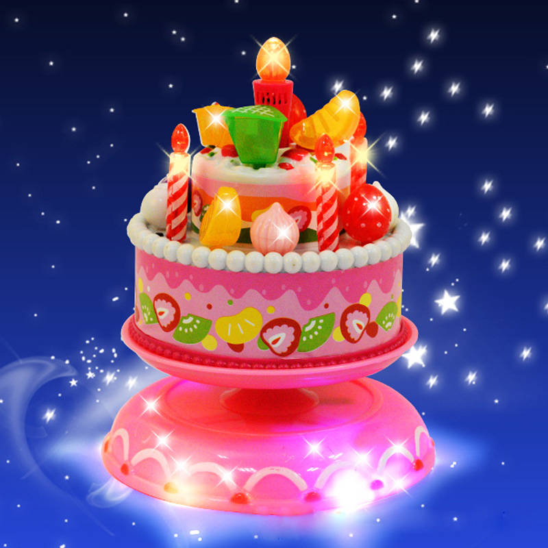 Birthday Cakes Toy Musical Rotating Lighting Plastic Play Jogo De