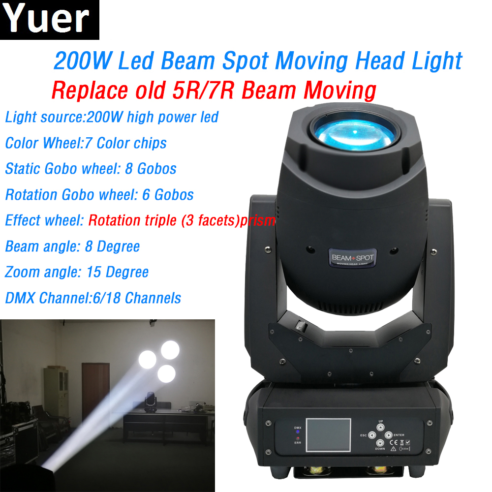 200w led beam spot 2in1 Moving Head Light 3 facets prism 6/18 dmx channels color wheel Gobo wheels dj Stage disco light dmx512 show plaza light stage blinder auditoria light ww plus cw 2in1 cob lamp 200w spliced type for stage