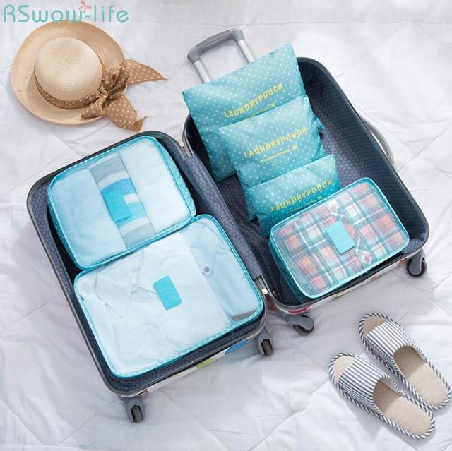 6 قطعة الكورية نمط السفر المحمولة أدوات منزلية جمع حقيبة التخزين الملابس الداخلية التشطيب أكياس السرير Stprage Underbed النايلون