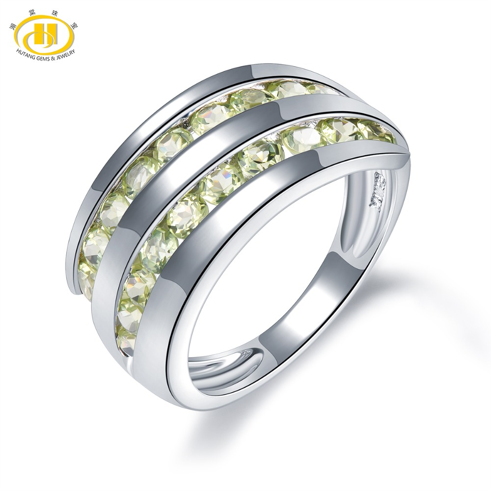 Hutang Natural Stone Wedding Rings Gemstone Peridot 925 Sterling Silver Ring Fine Stone Jewelry for Women Girls Best Gift NewHutang Natural Stone Wedding Rings Gemstone Peridot 925 Sterling Silver Ring Fine Stone Jewelry for Women Girls Best Gift New
