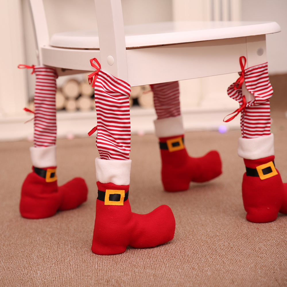 1pc Table Leg Chair Foot Covers Santa Claus Navidad 2019 Christmas Decoration For Home Chair Table Cover Decor New Year Supplies