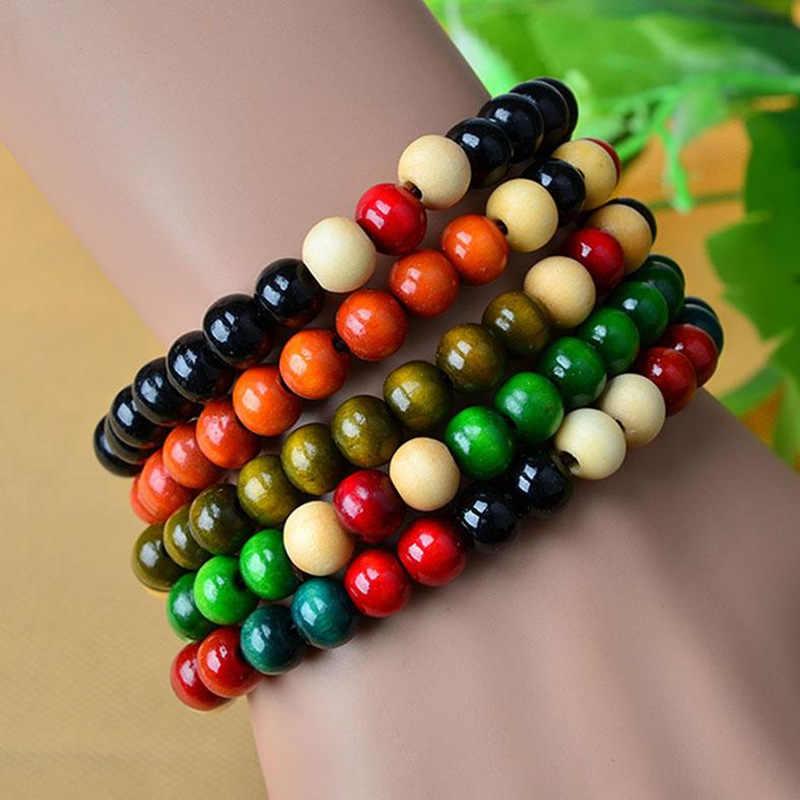 Этнический стиль деревянный шарик растягивающийся браслет круг маленькие бусины для женщин и мужчин ювелирные изделия цвета браслет цепочка