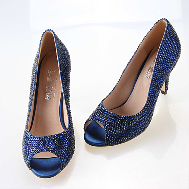 Navy Prom Shoes Custom Bling Wedding Pink Crystal Party In Handmade