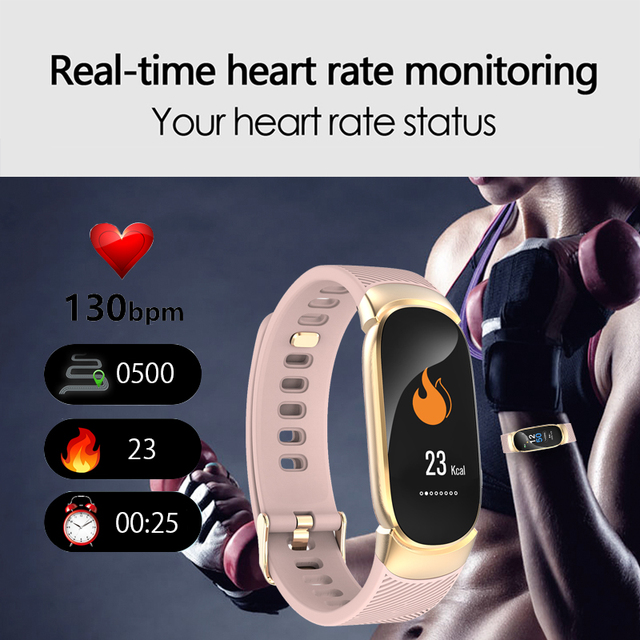 BANGWEI 2019 Smart Sport Watch Women IP67 Waterproof Watch Heart Rate Sleep Monitor Information Call Reminder smartwatch + Box