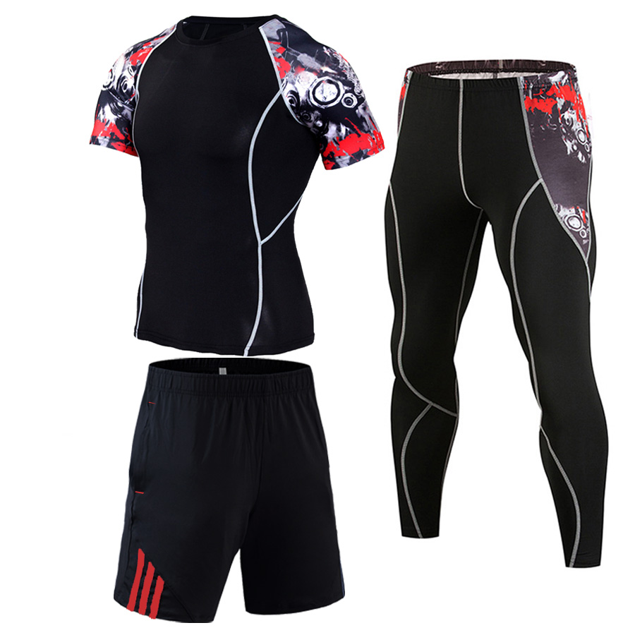Mens Short Sets Jogging Tracksuit Fitness Quick-drying Tights Compressed MMA Clothing Sports Sets Man Training Kit S-4XL