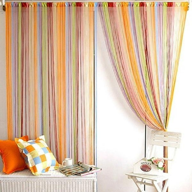 Romantic line partition 1mx2m interior string curtain door window drapes panel nlinds living - Les 3 suisses rideaux ...
