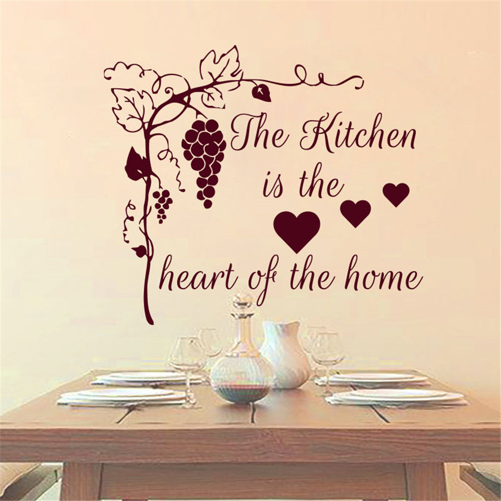 The Kitchen In The Heart Of The Home Grape Tree Wall Sticker Home Decor Diy Vinyl Removable Wall Decal For Dining Room
