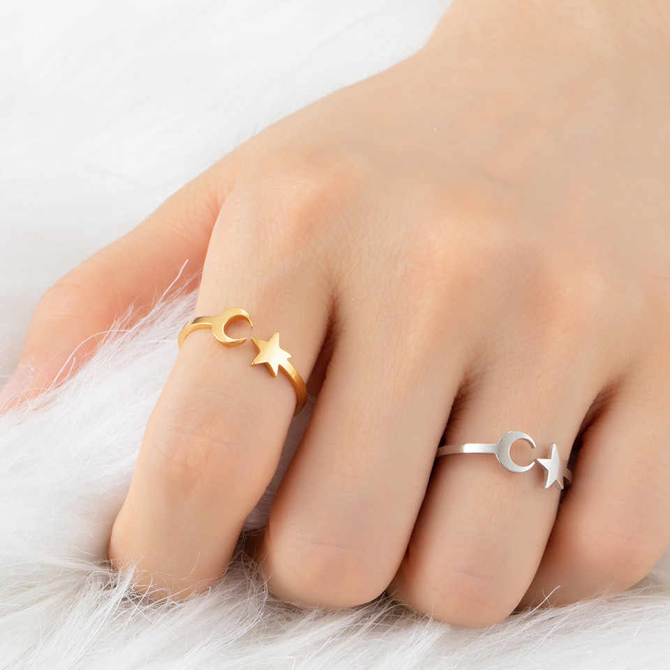 2018 новые кольца для женщин Звезда Луна палец кольцо на костяшки пальцев набор Alliance Женская мода ювелирные изделия вечерние свадебные кольца Femme подарки