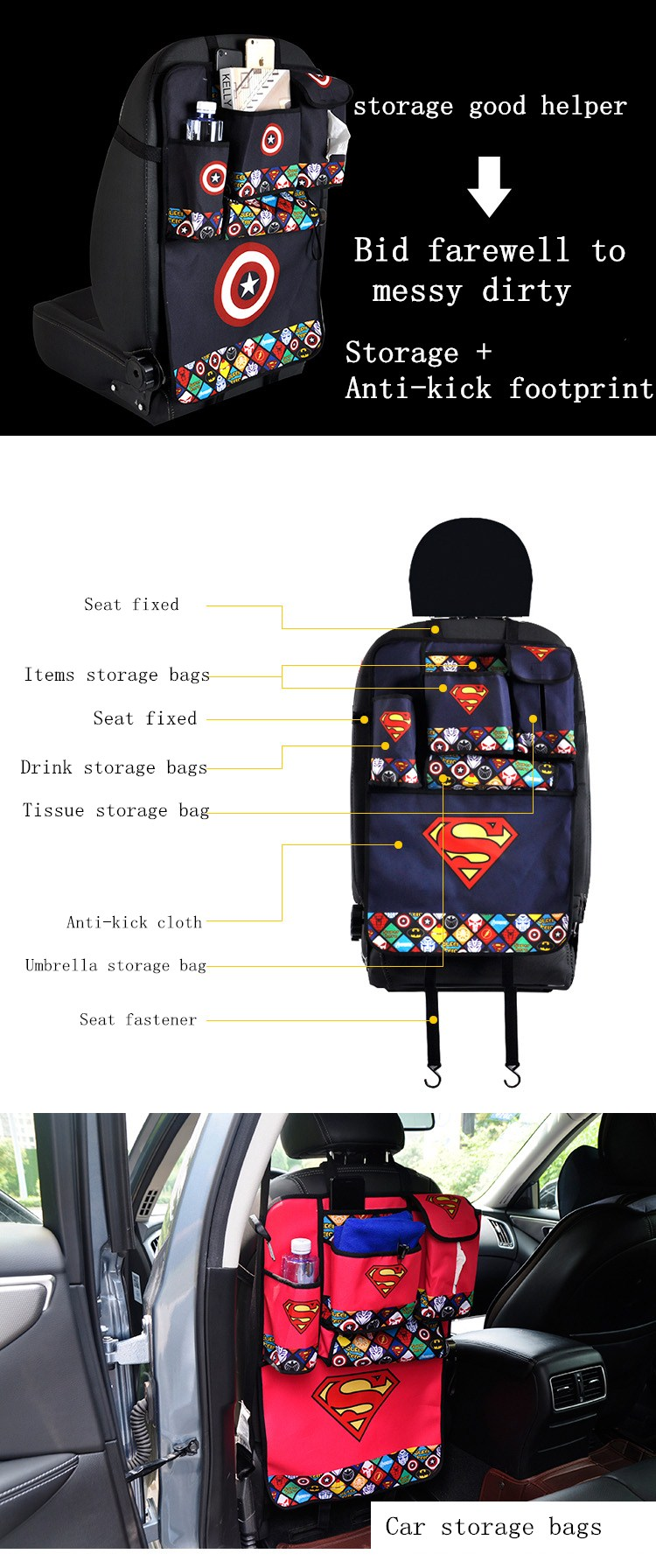 Phone Tissue Book Water Storage Bag with Superman, Spiderman Style