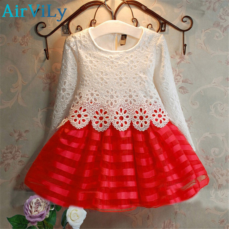 2017 3-7Y Toddler Baby Girls Kids Tutu Crochet Lace Dress Long Sleeve Princess Dress Girls Clothes Autumn Children Wedding Dress