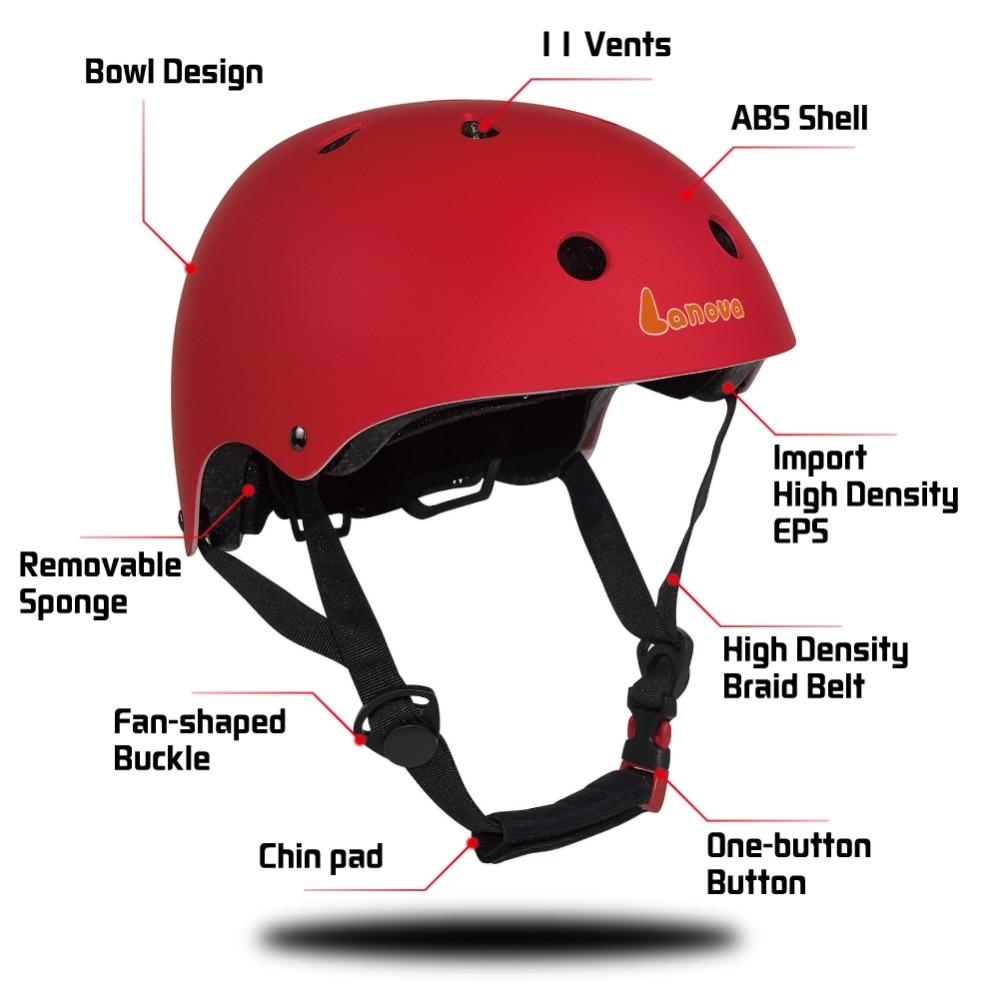 LANOVA Protector 7Pcs / set Velosiped Skateboard Kask Dirsək Diz - İdman geyimləri və aksesuarları - Fotoqrafiya 5