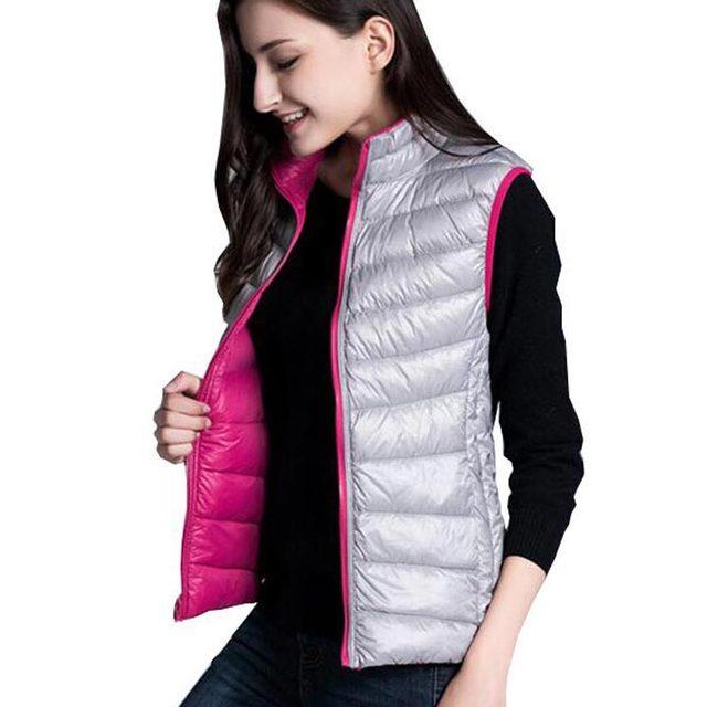 Otoño invierno ultraligero abajo chalecos de algodón de las mujeres de doble cara chaleco de las señoras sin mangas de pie cuello de la chaqueta delgada ocasional kl0422