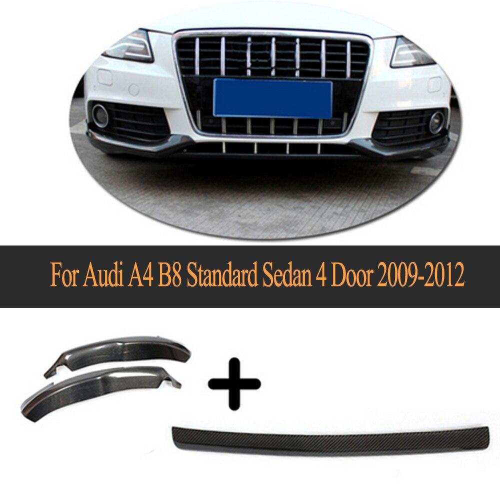 Углеродного волокна бампер Splitter передний бампер центр губ и сплиттер фартук для Audi A4 B8 Стандартный Седан 4 двери 2009 2012 3 шт.