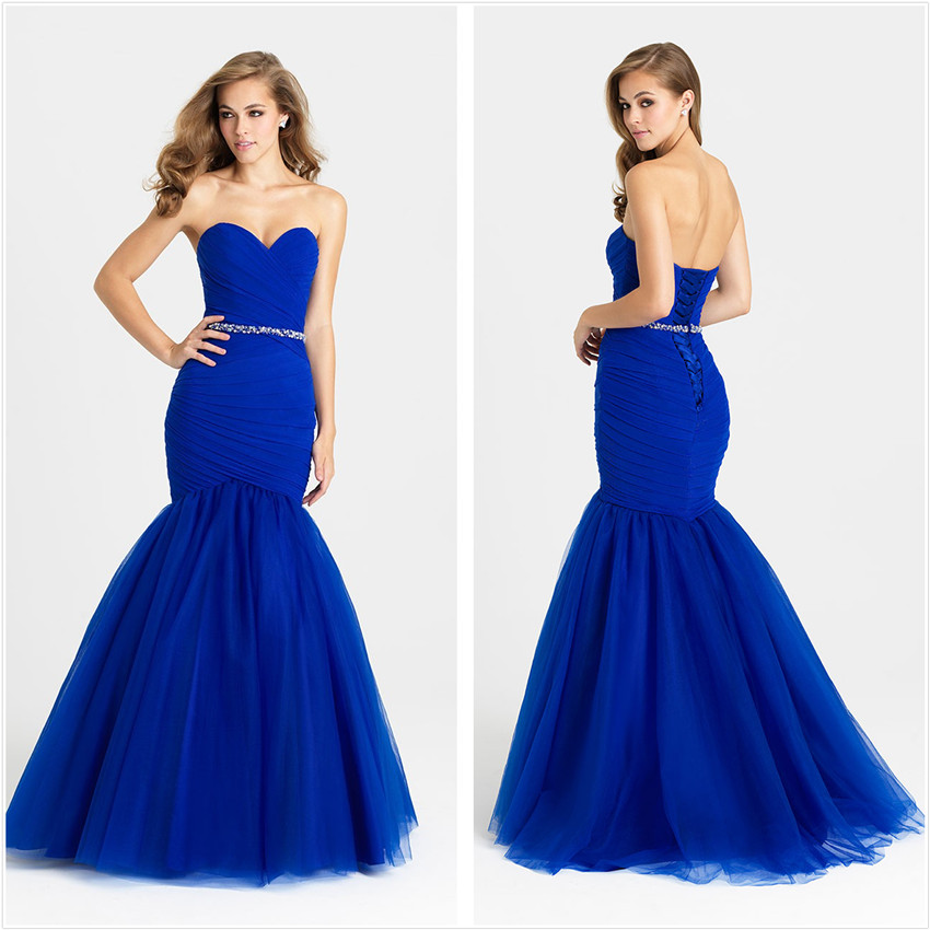 Fantastic Royal Blue Mermaid Prom gown 2018 Sleeveless Beading Ruffled Organza Long Pregnant Robe De Soiree   bridesmaid     dresses
