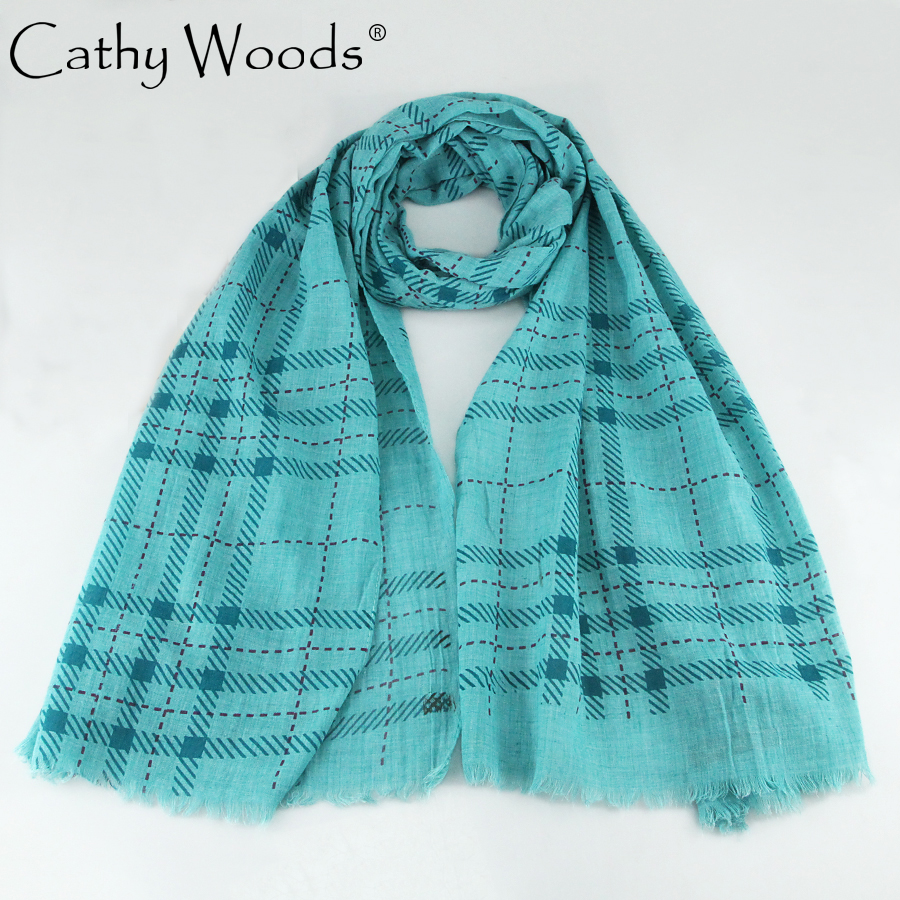 CW cotton lattice scarf small tassel shawl for women men sunscreen warm 180 * 70CM