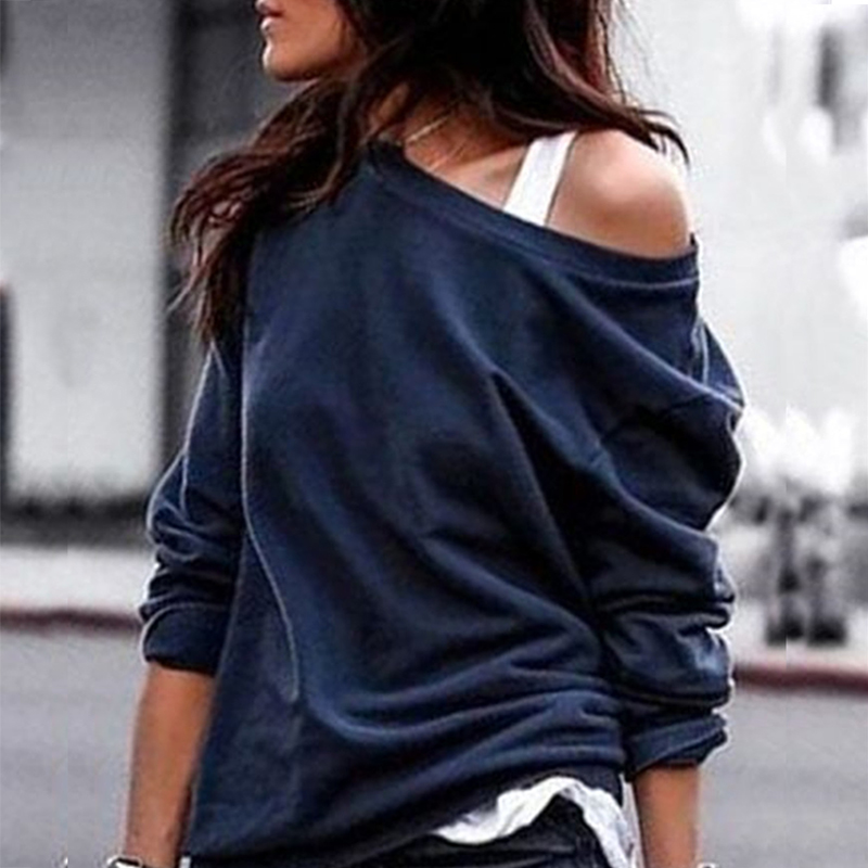 Sexy One Off Shoulder Hoodies Sweatershirt Women Casual Spring Autumn Solid Color Pullover Female Tops Plus Size