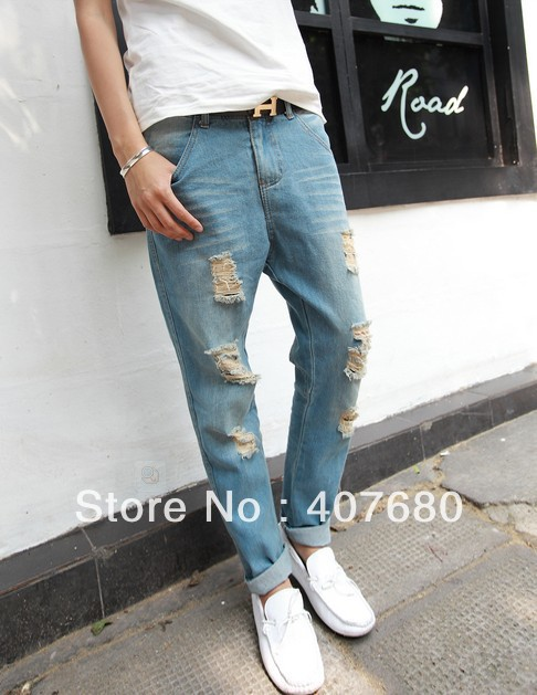 664eb858fa7 Excellent men's fashion hole ripped denim jumpsuit overalls cargo pants  distressed washed light color pencil jeans-in Jeans from Men's Clothing on  ...